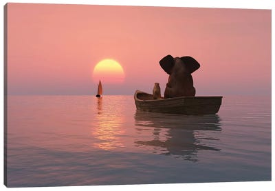Elephant And Dog Are Floating In A Boat At Sunset Canvas Art Print