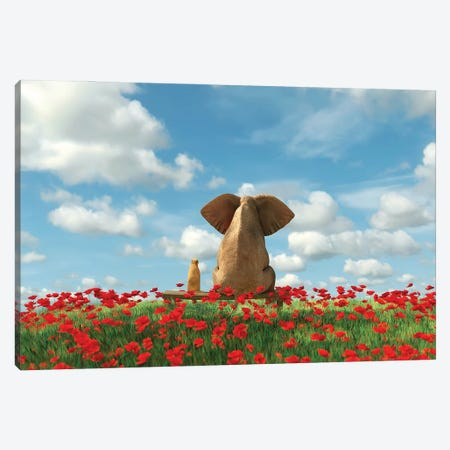 Elephant And Dog Sit On A Red Poppy Field Canvas Print #MII131} by Mike Kiev Canvas Art