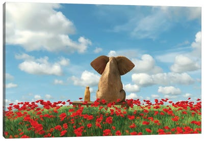 Elephant And Dog Sit On A Red Poppy Field Canvas Art Print