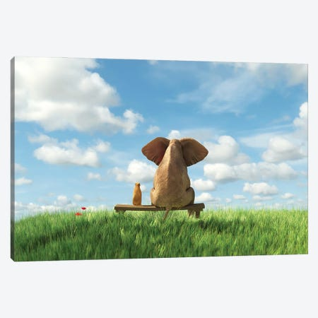 Elephant And Dog Sit On A Green Field Canvas Print #MII132} by Mike Kiev Canvas Artwork