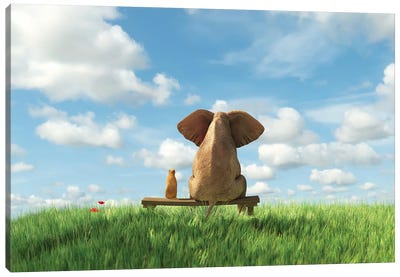 Elephant And Dog Sit On A Green Field Canvas Art Print