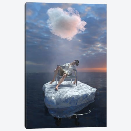 Young Man With VR Glasses Travels The Sea Canvas Print #MII133} by Mike Kiev Canvas Artwork
