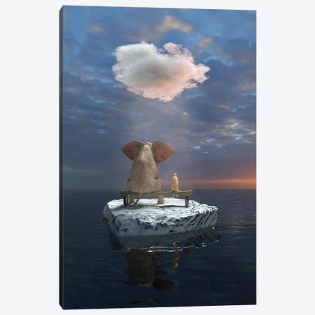 An Elephant And A Dog Travel The Sea On An Ice Floe Canvas Print #MII134} by Mike Kiev Canvas Art Print