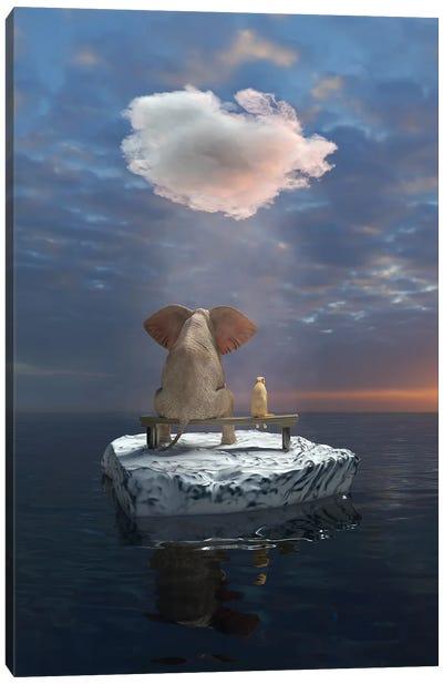 An Elephant And A Dog Travel The Sea On An Ice Floe Canvas Art Print