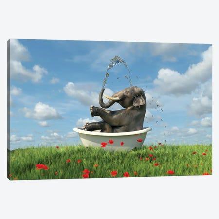 Elephant Relaxing In A Bath In The Meadow Canvas Print #MII135} by Mike Kiev Art Print