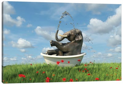 Elephant Relaxing In A Bath In The Meadow Canvas Art Print
