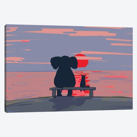 Elephant And Dog Sit On A Beach At Sunset, Drawing Canvas Print #MII136} by Mike Kiev Canvas Print