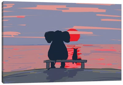 Elephant And Dog Sit On A Beach At Sunset, Drawing Canvas Art Print