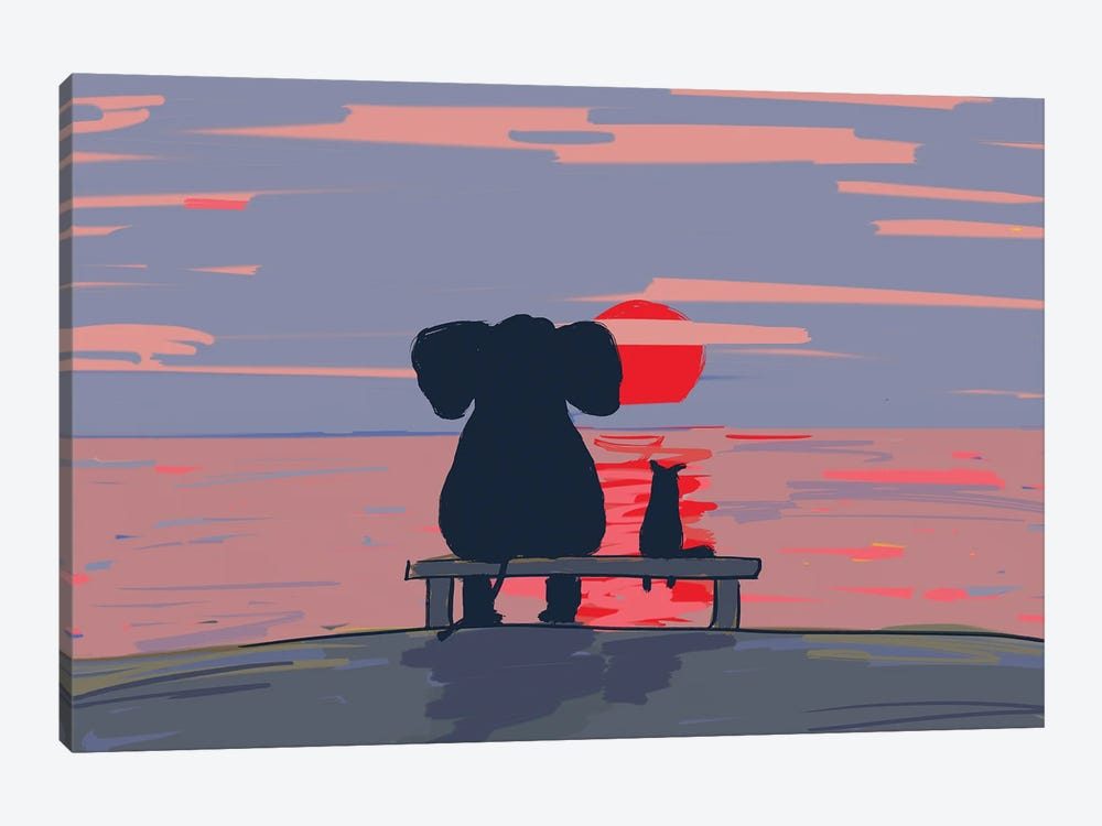 Elephant And Dog Sit On A Beach At Sunset, Drawing by Mike Kiev 1-piece Canvas Wall Art