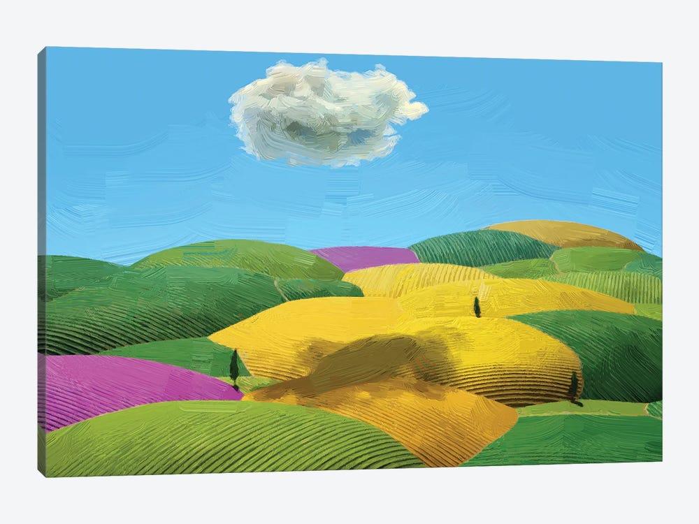 Summer Tuscan Landscape by Mike Kiev 1-piece Canvas Art Print