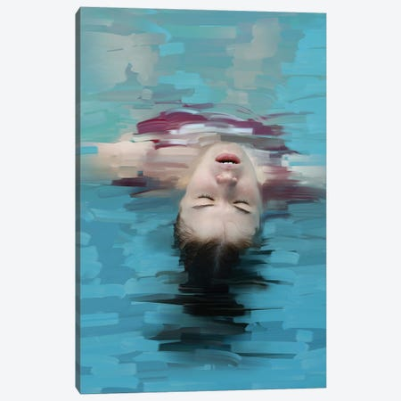 Young Woman Relaxing In Blue Water, Stylization Of Painting Canvas Print #MII138} by Mike Kiev Canvas Artwork
