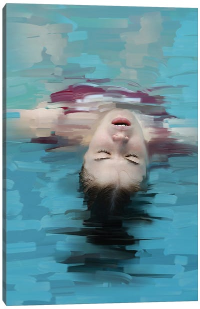 Young Woman Relaxing In Blue Water, Stylization Of Painting Canvas Art Print