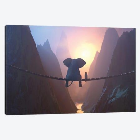 Elephant And Dog Sit On A Bridge Over A Precipice Canvas Print #MII139} by Mike Kiev Canvas Art