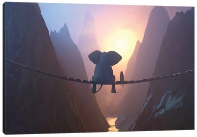 Elephant And Dog Sit On A Bridge Over A Precipice Canvas Art Print