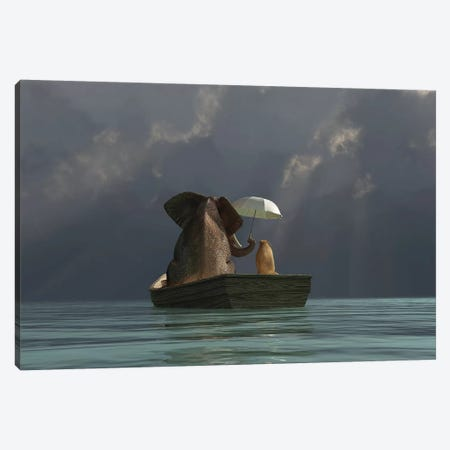 Elephant And Dog Are Floating In A Boat II Canvas Print #MII13} by Mike Kiev Canvas Artwork