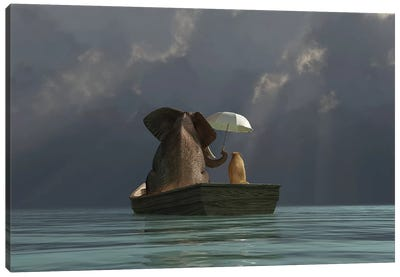 Elephant And Dog Are Floating In A Boat II Canvas Art Print