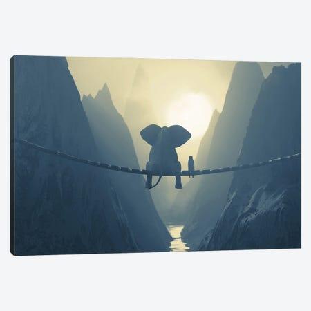 Elephant And Dog Sit On A Bridge Over A Precipice (Dualtone) Canvas Print #MII140} by Mike Kiev Canvas Art Print