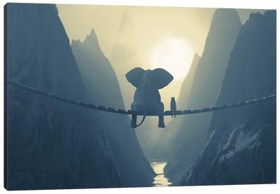 Elephant And Dog Sit On A Bridge Over A Precipice (Dualtone) Canvas Art Print