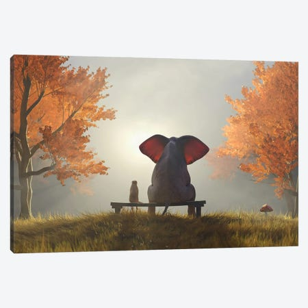 Elephant And Dog Sit In The Autumn Garden II Canvas Print #MII142} by Mike Kiev Canvas Art Print