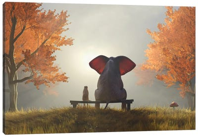 Elephant And Dog Sit In The Autumn Garden II Canvas Art Print