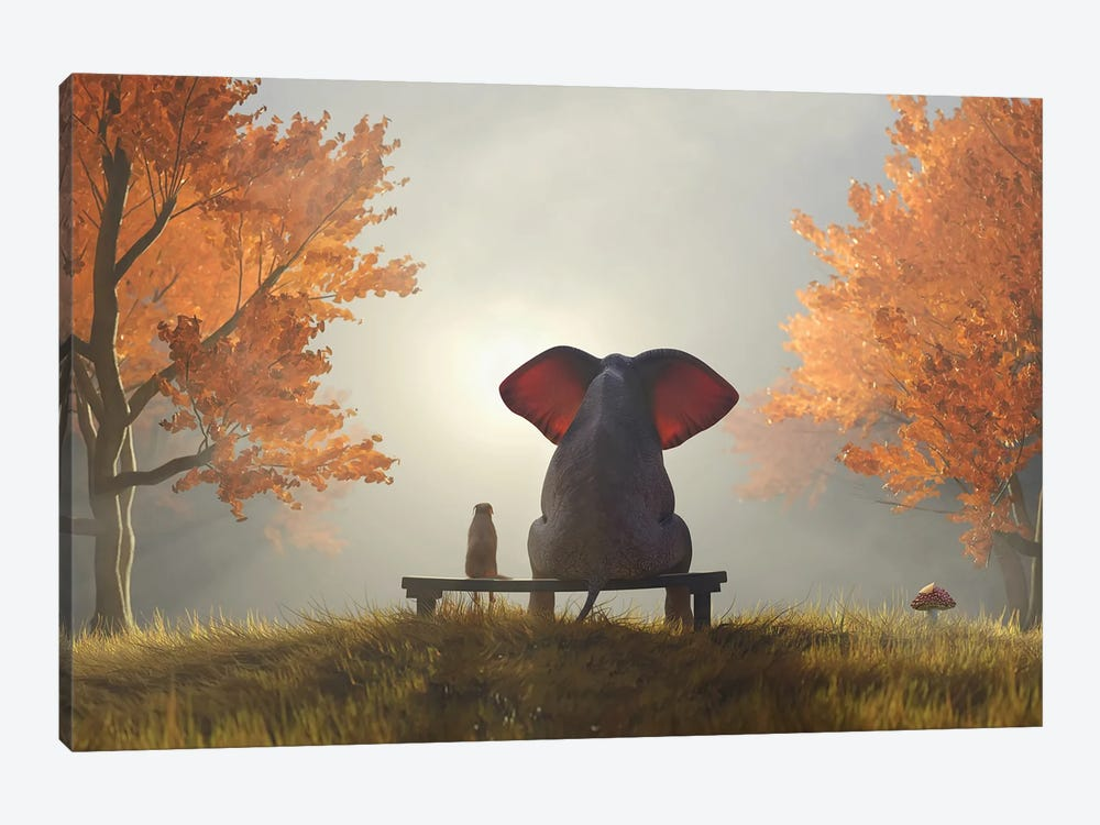 Elephant And Dog Sit In The Autumn Garden II by Mike Kiev 1-piece Canvas Print