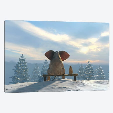 Elephant And Dog Sit On The Top Of The Mountain In Winter Canvas Print #MII143} by Mike Kiev Art Print