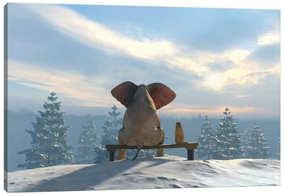 Elephant And Dog Sit On The Top Of The Mountain In Winter Canvas Art Print
