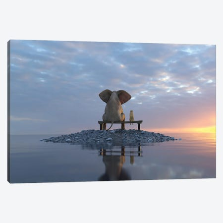 Elephant And Dog Sit On A Small Island Canvas Print #MII144} by Mike Kiev Canvas Artwork
