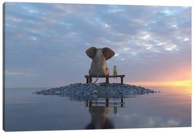 Elephant And Dog Sit On A Small Island Canvas Art Print