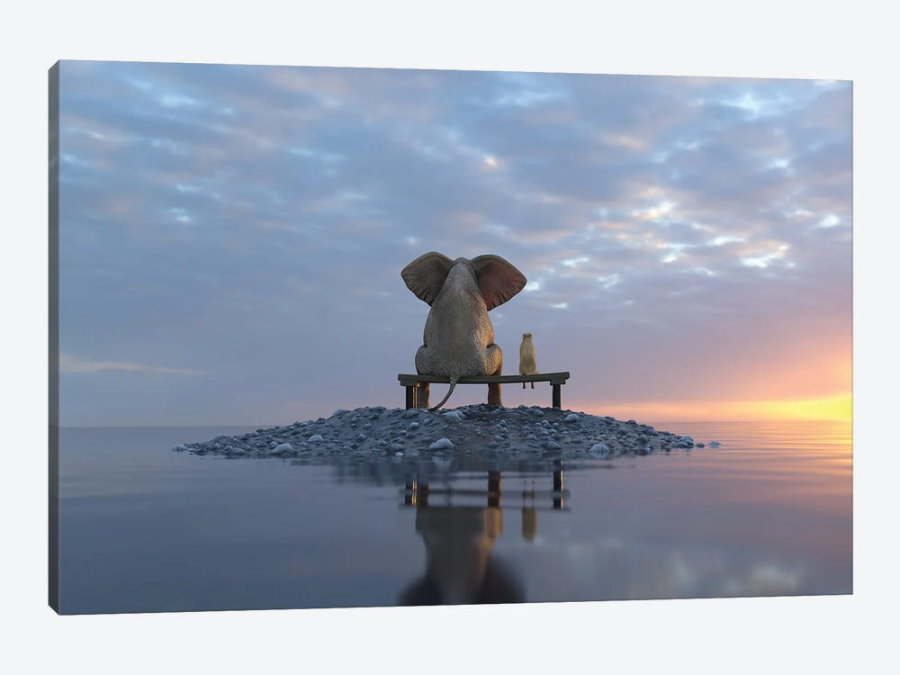 Elephant And Dog Sit On A Small Island by Mike Kiev 1-piece Canvas Art Print