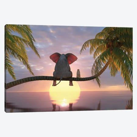 Elephant And Dog Sit On A Palm Tree On The Beach Canvas Print #MII145} by Mike Kiev Canvas Wall Art