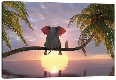 Elephant And Dog Sit On A Palm Tree On The Beach Canvas Art Print