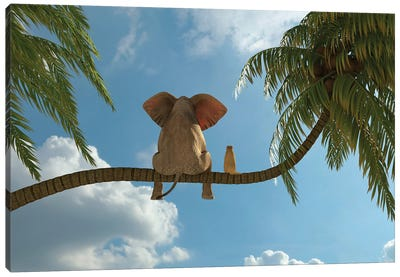 Elephant And Dog Sit On A Palm Tree Canvas Art Print