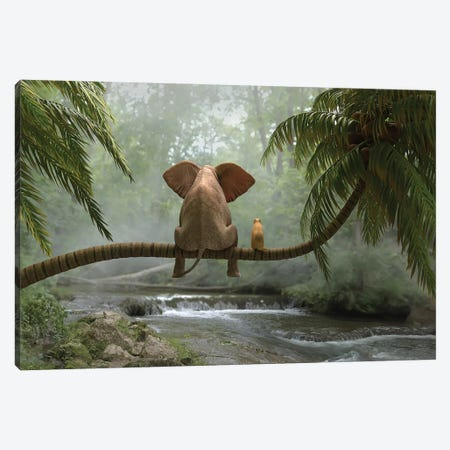 Elephant And Dog Sit On A Palm Tree In Tropical Forest Canvas Print #MII147} by Mike Kiev Canvas Art