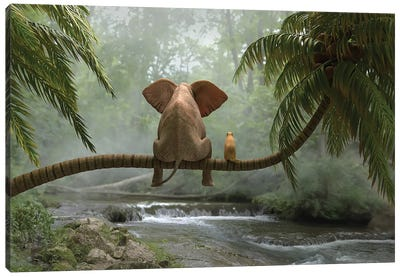 Elephant And Dog Sit On A Palm Tree In Tropical Forest Canvas Art Print