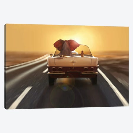 elephant and dog travel by car Canvas Print #MII149} by Mike Kiev Art Print