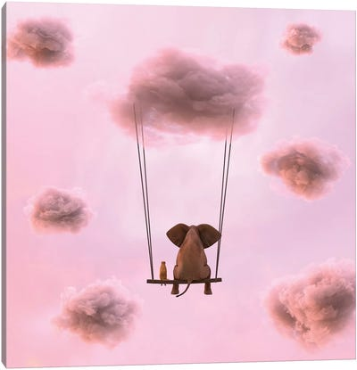 Elephant And Dog Are Flying On A Cloud Canvas Art Print