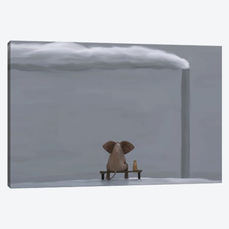 Elephant And Dog In Winter Landscape Canvas Print #MII150} by Mike Kiev Canvas Artwork