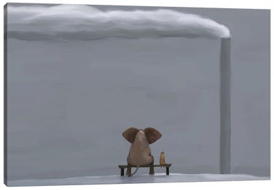 Elephant And Dog In Winter Landscape Canvas Art Print