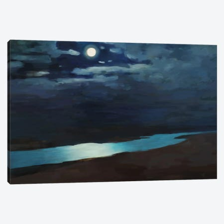 Moonlit Night Over The River Canvas Print #MII151} by Mike Kiev Canvas Art
