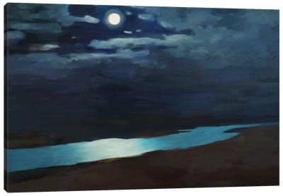 Moonlit Night Over The River Canvas Art Print