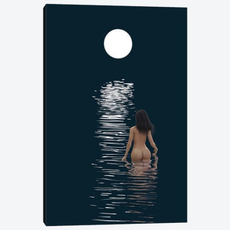 Young Woman Bathes In Dark Water Canvas Print #MII159} by Mike Kiev Canvas Art