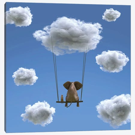 Elephant And Dog Are Flying On A Cloud II Canvas Print #MII15} by Mike Kiev Art Print