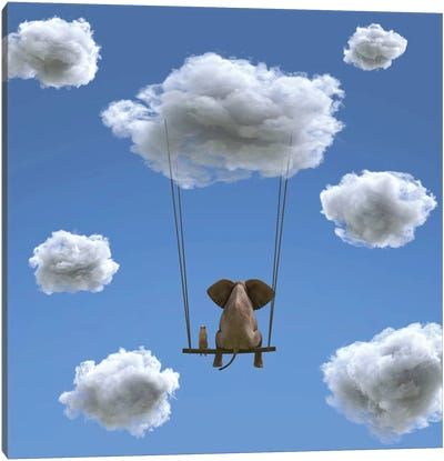 Elephant And Dog Are Flying On A Cloud II Canvas Art Print