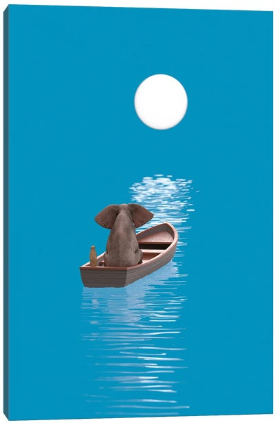 Elephant And Dog Sail In A Boat At Blue Sea Canvas Art Print