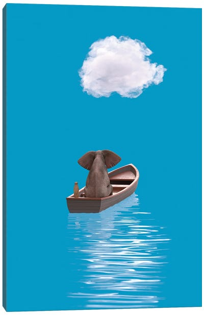Elephant And Dog Sail In A Boat At Blue Sea II Canvas Art Print