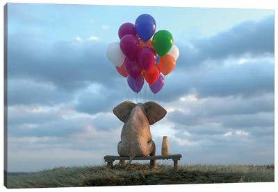 Elephant And Dog Sit In The Meadow With Helium Balloons Canvas Art Print