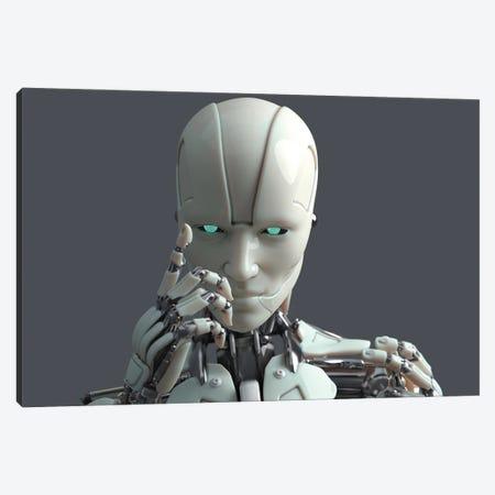 Robot Warning 2 Canvas Print #MII173} by Mike Kiev Canvas Art