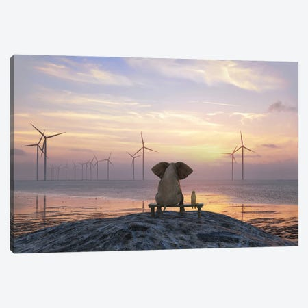 Elephant And Dog Sit On The Shore And Look At The Wind Turbine Field Canvas Print #MII189} by Mike Kiev Canvas Art Print