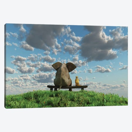 Elephant And Dog Are Sitting On A Meadow Canvas Print #MII18} by Mike Kiev Canvas Artwork